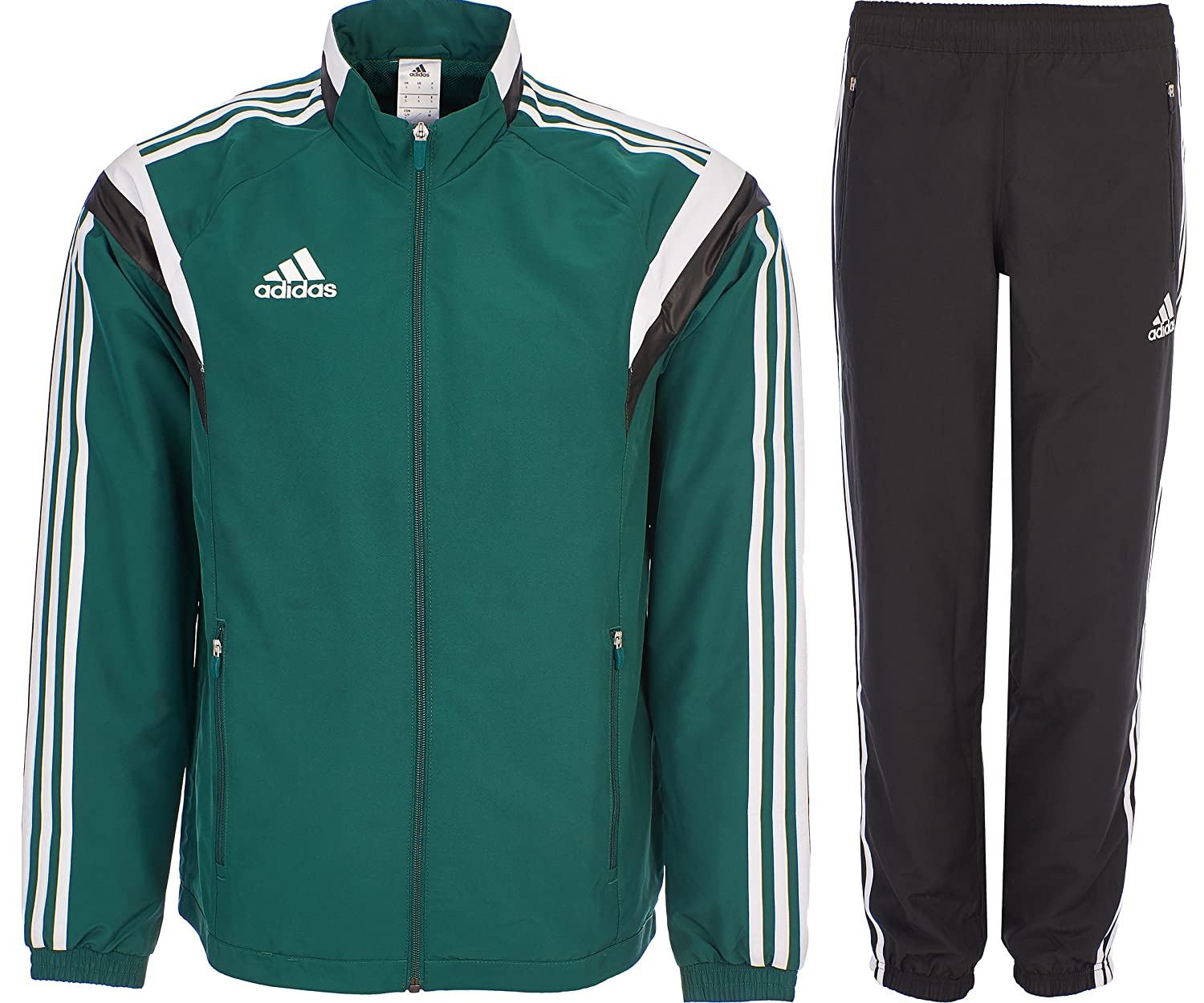 Adidas Tracksuit Woven Soccer RefSuit Track Top Pants Training Black/Green G90430