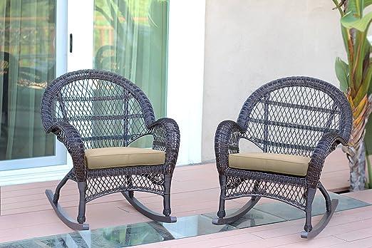 Amazon.com: Cojín de silla de mimbre Rocker con Tan, juego ...