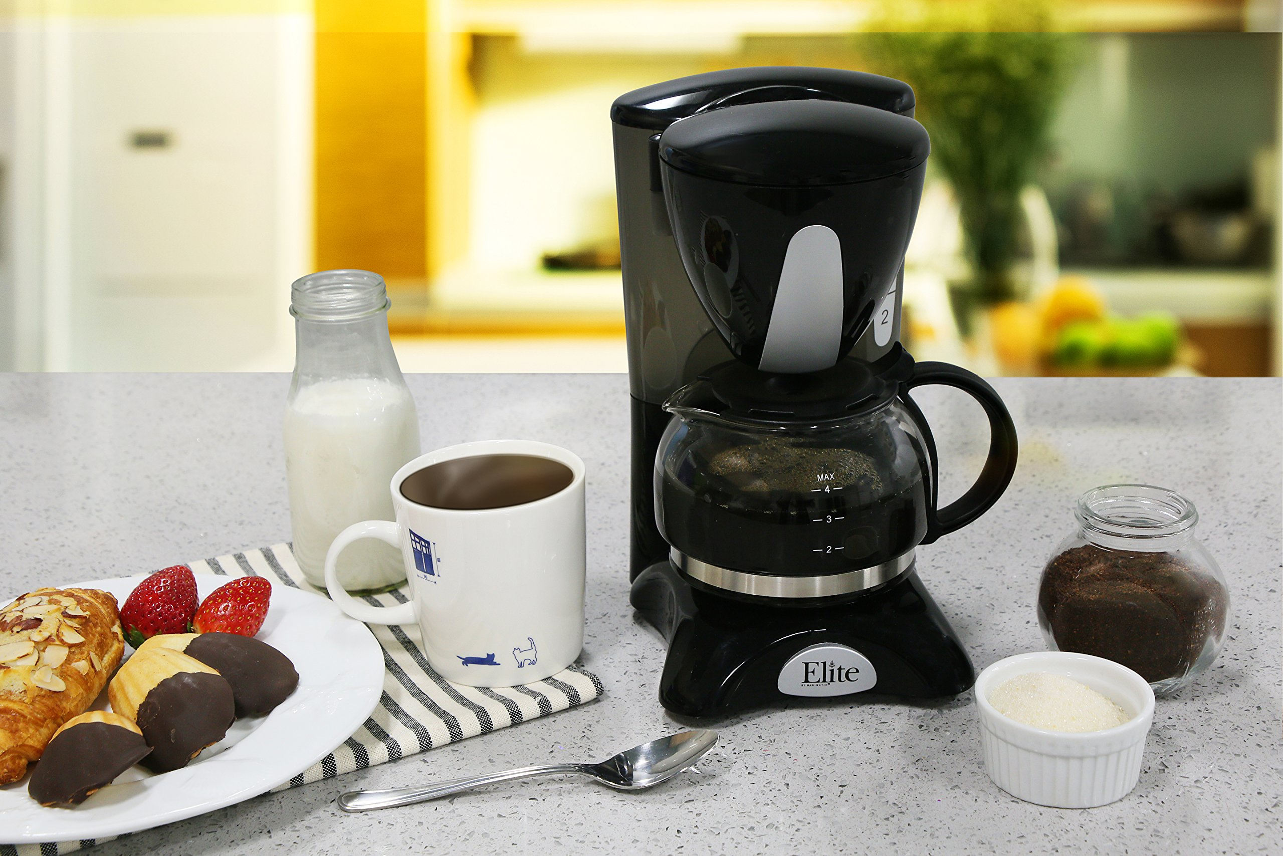 Elite Cuisine EHC-2022 Maxi-Matic 4 Cup Coffee Maker with Pause and Serve, Black by Maxi-Matic (Image #7)