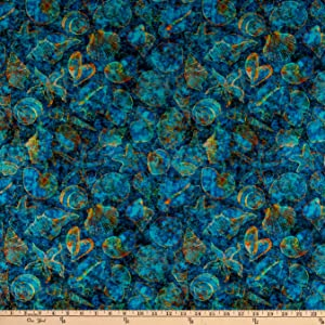 Fabric & Fabric QT s Evolution Oceana Seashells Ocean, Fabric by the Yard