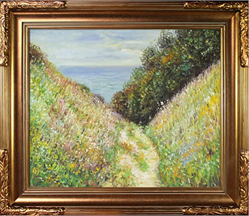 overstockArt Path at La Cavee, Pourville with Florentine Gold Framed Oil Painting, 31 x 27 , Multi-Color