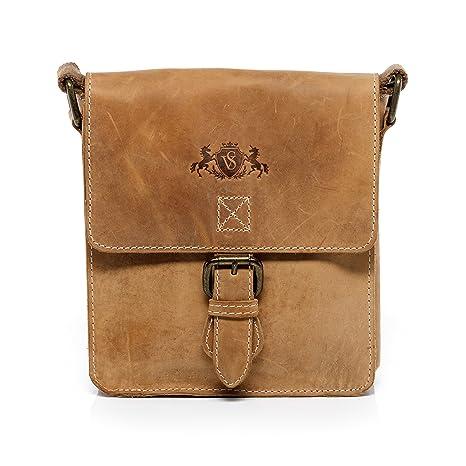 SID /& VAIN Schultertasche echt Leder Yale Handtasche Schultergurt Umh/ängetasche Ledertasche Damen braun
