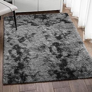 Veken Fluffy Shag Area Rugs for Living Room Bedroom Home Decor Nursery, Machine Washable Indoor Carpets for Girls Boys Kids Room 4x5.3 Feet, Tie-Dyed Black Grey