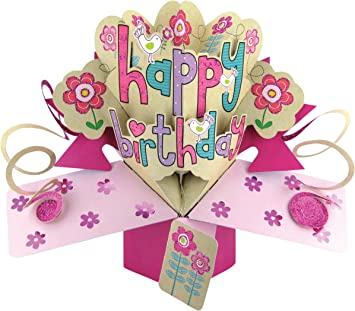 Second Nature A Female Happy Birthday with Flowers and Birds Pop ...