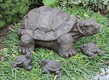Steinfigur Schildkröte 4er Set Dunkelbraun Deko Figur Garten