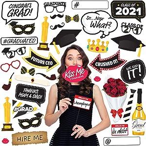 Graduation Photo Booth Props 2021 38pcs Set – Graduation Decorations 2021 Class Graduation Party Supplies Kit – Grad Party Favors & Décor for Pictures & Selfie