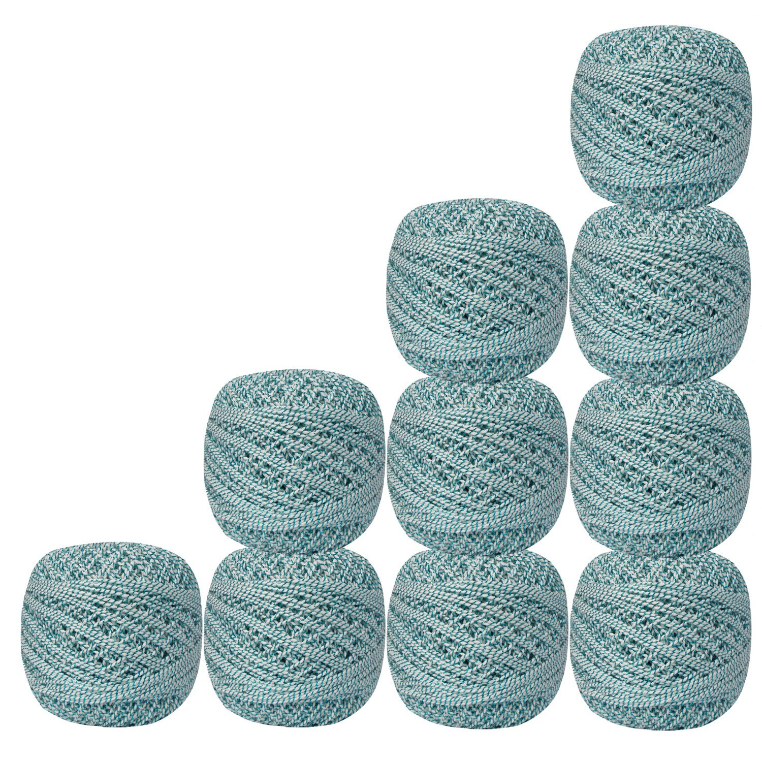 Lot of 10 Pcs White with Metallic Blue Cotton Crochet Thread For Cross Stitch Knitting Tatting Doilies Skeins Lacey Craft Yarn