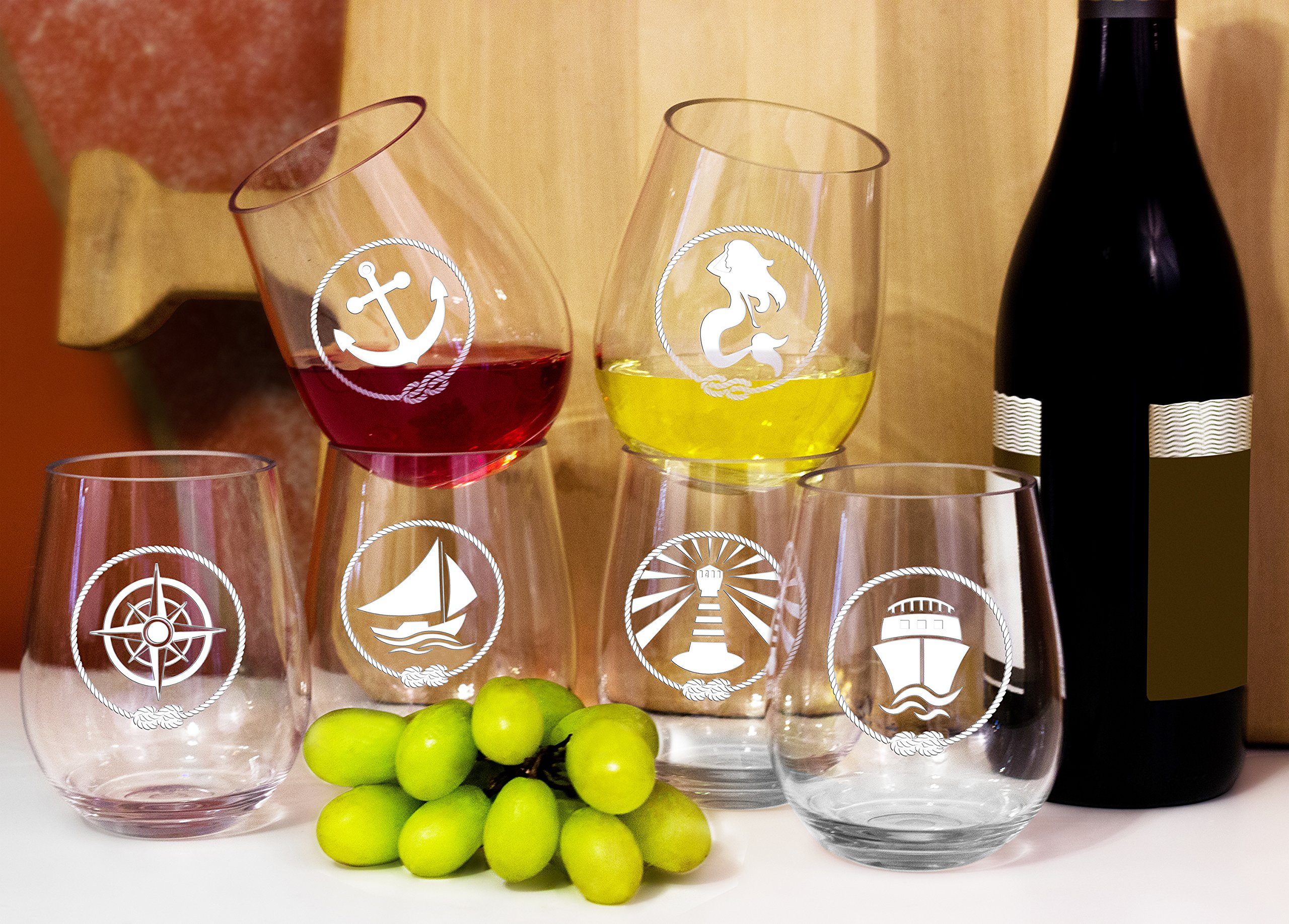 SET OF 6 -Stemless Wine Glasses-Nautical Themed, Resturant Quility Plastic, 14oz, Best Shatter Proof Drinking Glass for Wine, Cocktails or gifts by DaJosie Co. (Image #8)