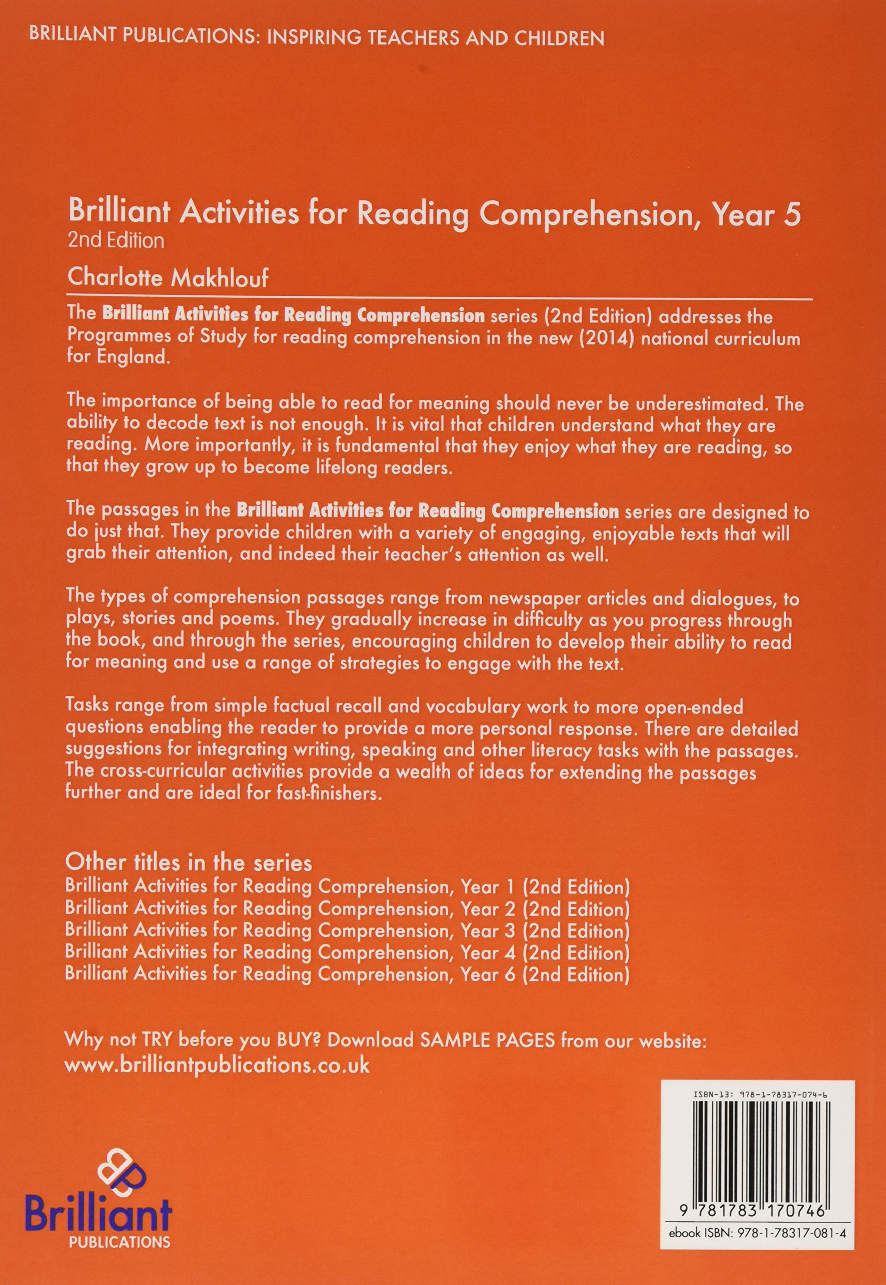Worksheets Cross-curricular Reading Comprehension Worksheets brilliant activities for reading comprehension year 5 2nd edition amazon co uk charlotte makhlouf books