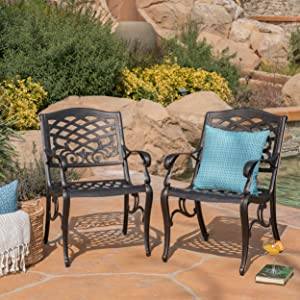 Myrtle Beach Outdoor Shiny Copper Finished Aluminum Dining Chairs (Set of 2)