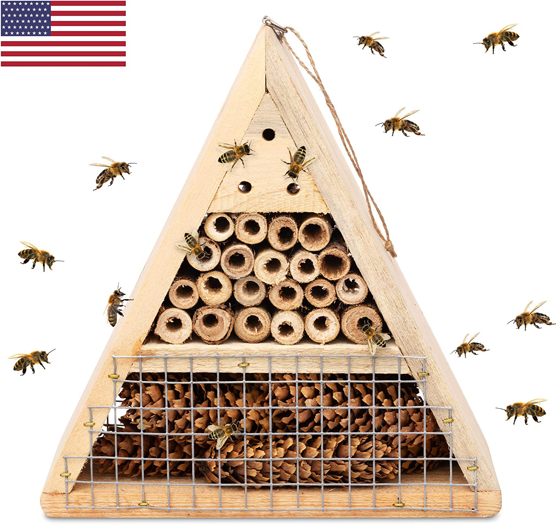 Mason Bee House - Handmade USA Natural Elderberry Bee Hotel - Bee Hive Attracts Peaceful Bee Pollinators to Enhance Garden Productivity
