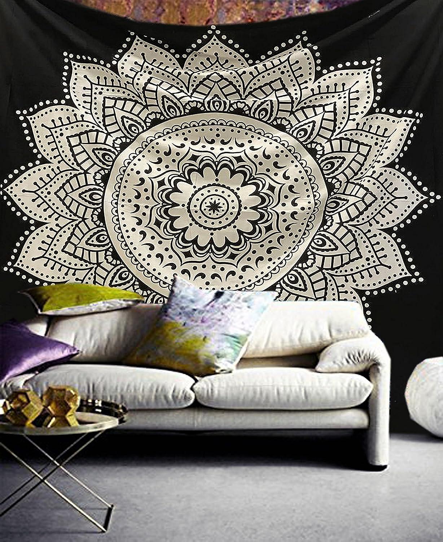 Lotus Blume Mandala Indische Wandteppich Yoga Deko Tuch Baumwolle 230x210cm Q