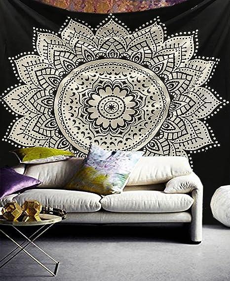 Exclusivo tapiz Raajsee con diseño de mándala, color blanco con negro, algodón, negro, 220*240cms: Amazon.es: Hogar