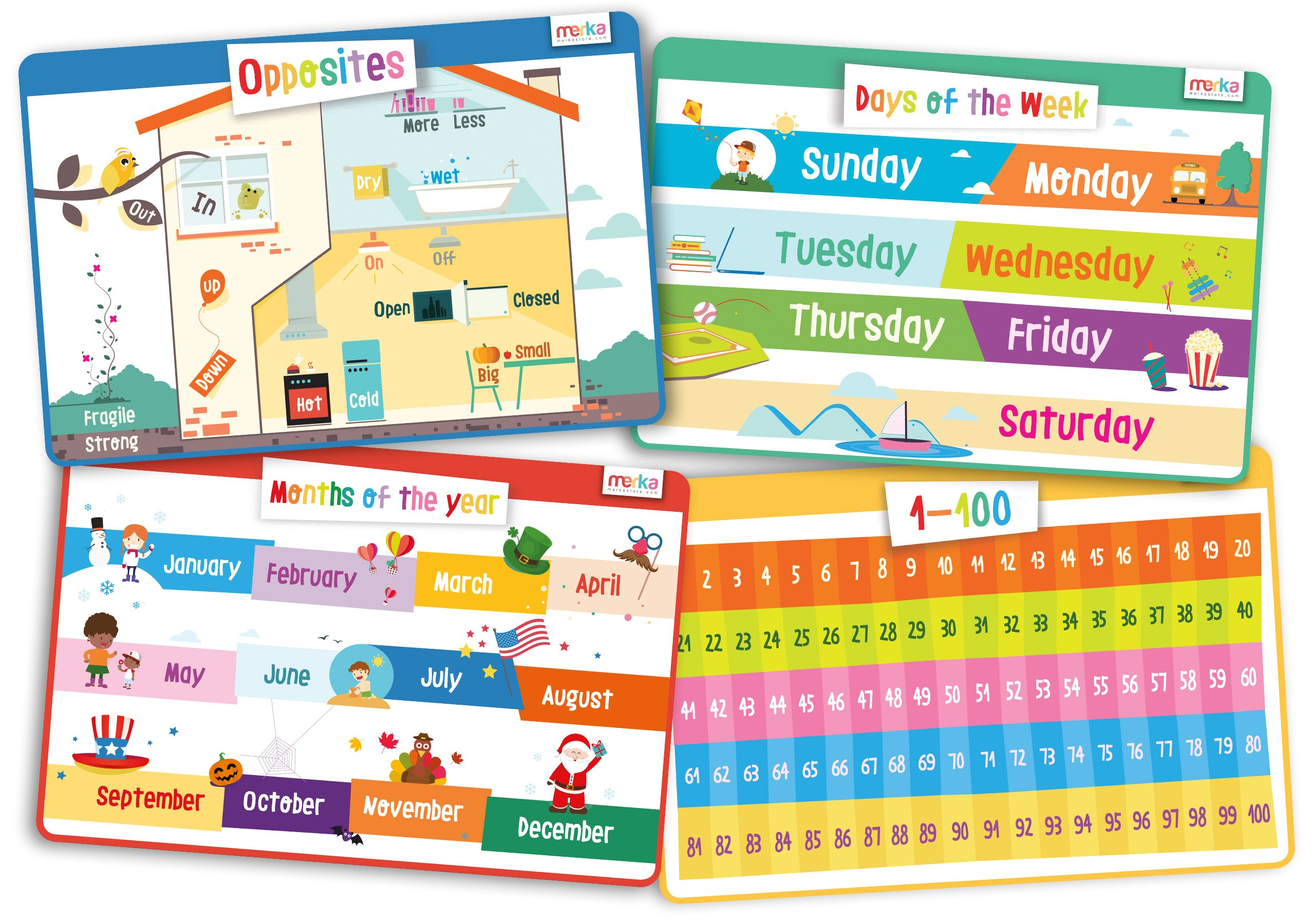 merka Educational Kids Placemats Set of 4: Opposites, Days of The Week, Months of The Year, Learn to Count 1-100 - Bundle - Non Slip Washable