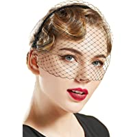 BABEYOND 1920s Flapper Fascinator Mesh Veil Headband Bridal Wedding Tea Party Fascinator Veil for Women