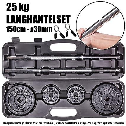 Pesas 25 kg - Pesas (150 cm Ø30 mm Discos en maletín Práctico 2 x 5 kg + 2 x 3 kg + 2 x 1 kg + 7 kg Pesas (+ 2 x Muelle tope: Amazon.es: Deportes y aire ...