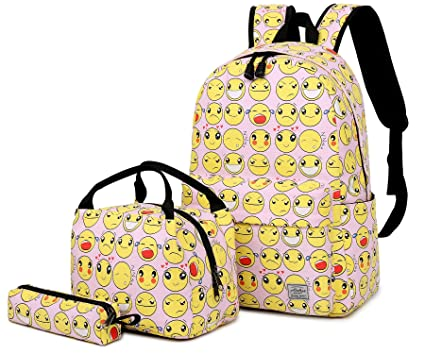 2cf1b62a96 Abshoo Cute Lightweight Canvas Emoji Bookbags for Girls Elementary Backpacks  With Lunch Bag (Pink Set
