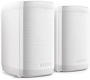 ION Audio Insta Sound | 40W Wireless Rechargeable Outdoor / Indoor Water Resistant Bluetooth Speakers With Rich, Lifelike Sound and Wall-Mount Brackets Included