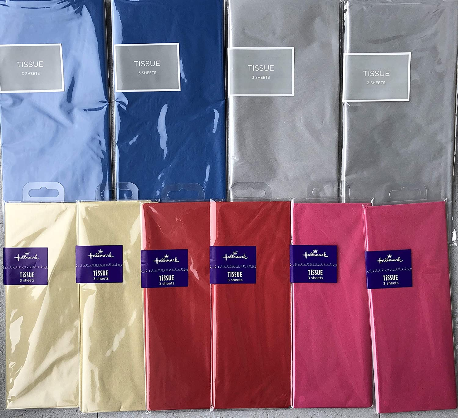 10 Mixed Packs Premium Hallmark Tissue Paper Red Silver 2 Packs of Each Colour Blue Hot Pink 30 Sheets Gold