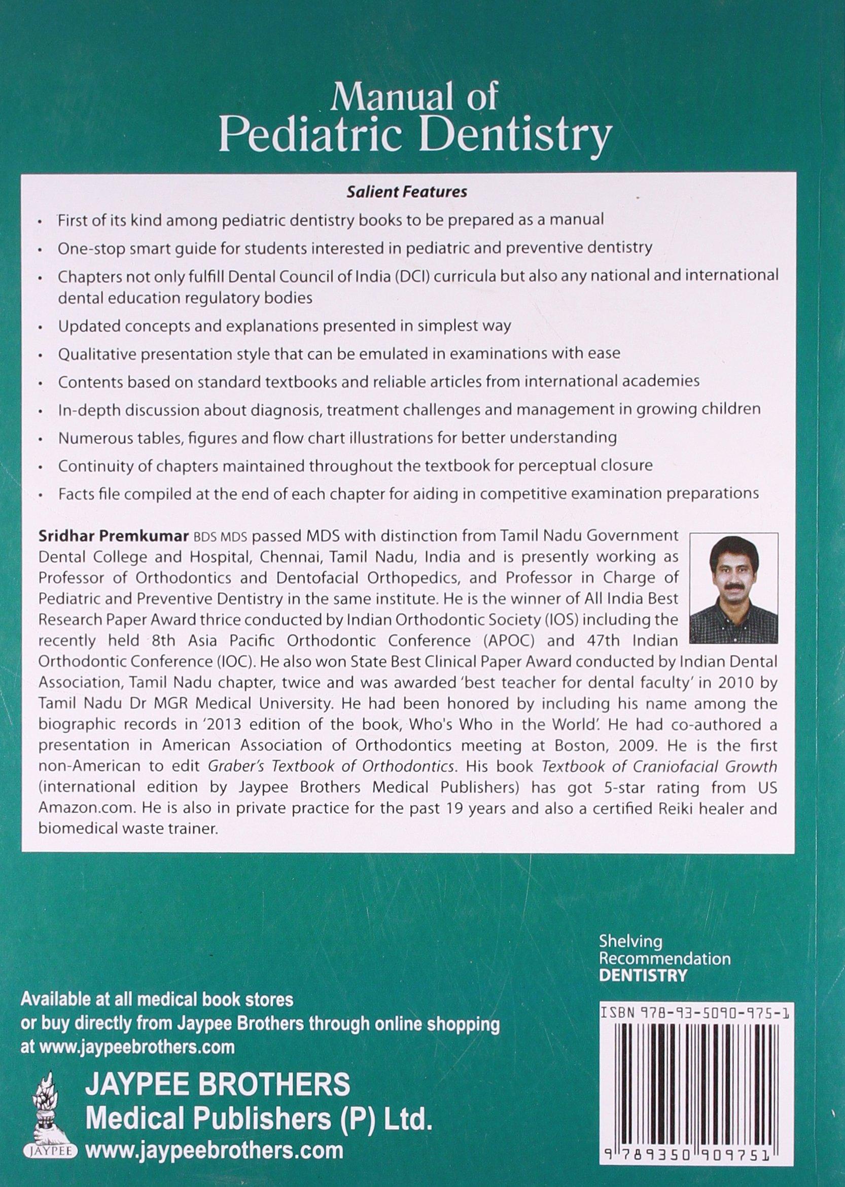 Manual of Pediatric Dentistry: Sridhar Premkumar: 9789350909751 ...