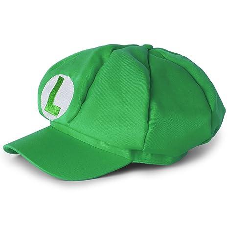 Katara 1659 Super Mario Cappello Luigi Berretto Verde Costume Bambini  Adulti Accessori Carnevale Cosplay de6a78226857