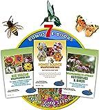 Wildflower Seeds Bulk + 8 BONUS Gardening eBooks + Open-Pollinated Wildflower Seeds, 1oz Packets, Non-GMO, No Fillers, Annual, Perennial Wildflower Seeds Year Round Planting, Bees Pollinators