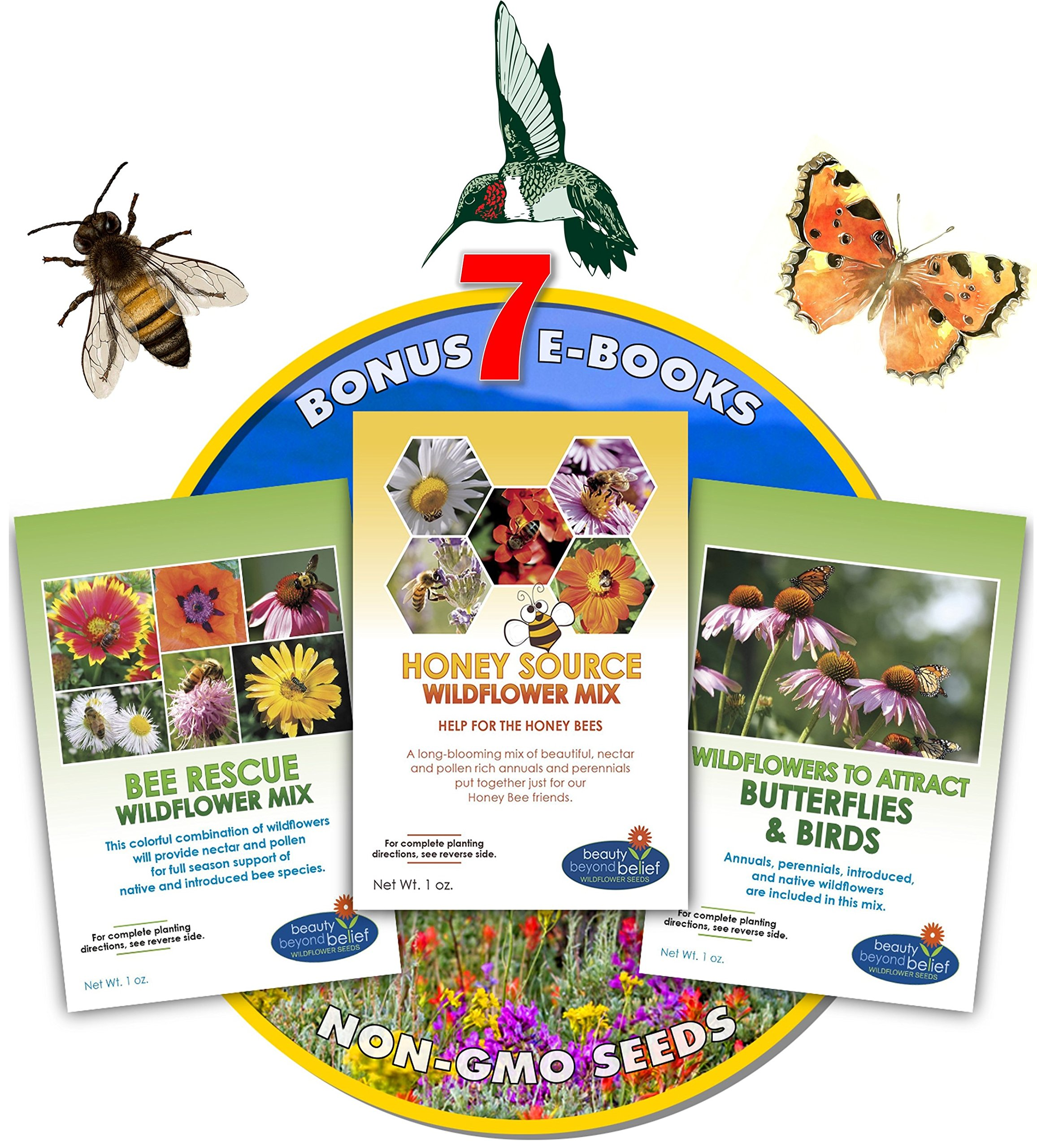 Wildflower Seeds Bulk + 8 BONUS Gardening eBooks + 87,000 Open-Pollinated, Non-GMO, No Fillers, Annual, Perennial Flower Seed Packets For Year Round Planting, Bees, Butterflies, Birds, Pollinators