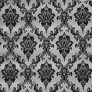 Blooming Wall Black Damasks Peel&Stick Wallpaper Self-Adhesive Wall Mural Wall Decor Contact Paper, 48 Square Ft/Roll (Black)