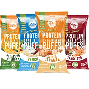 BETTER THAN GOOD Keto Protein Puffs | 16g Protein, 2 Servings of Fruits & Veggies | Paleo, Low Sugar, Low Calories, Gluten Free, Diabetic Friendly Keto Snacks (Sampler 4 pack)