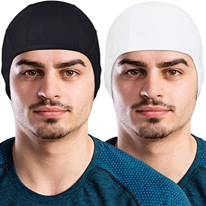 GearTOP Skull Cap Helmet Liner Running Beanie (2 Pack Black and White)