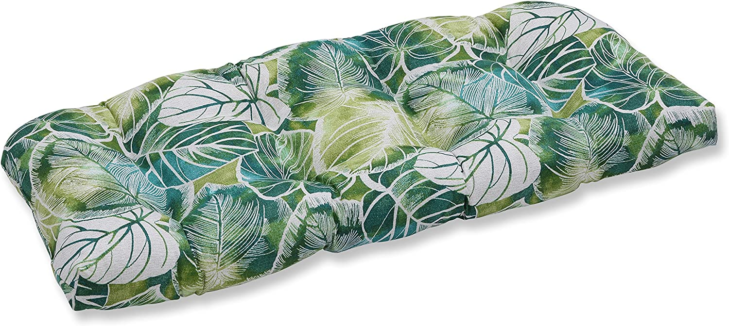 """Pillow Perfect Outdoor/Indoor Key Cove Lagoon Tufted Loveseat Cushion, 44"""" x 19"""", Green"""