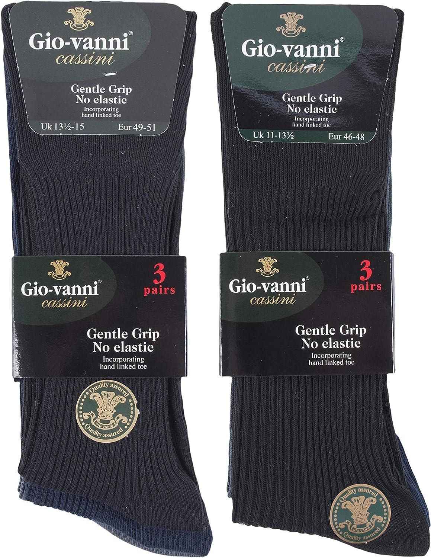 6 Pares Hombre Algodon Vestir Colores Calcetines sin Elastico 45-47 y 47-50 Gentle Grip