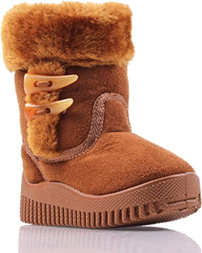 Camel Cute Faux Suede Faux Fur Booties Toddlers Kids Girls Winter Boots Shoes