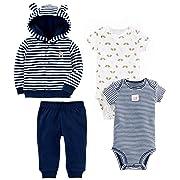 Simple Joys by Carter's Baby Boys' 4-Piece Terry Cardigan Set, Navy Bear, Newborn