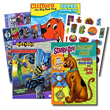 Coloring Books For Boys With Stickers Assortment Batman Book Scooby Doo