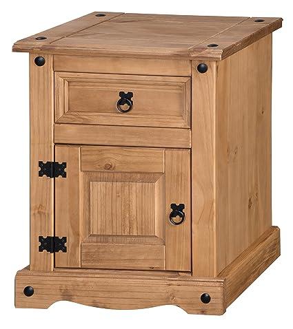 Corona - Mesita de noche con 1 cajón y 1 puerta: Amazon.es: Hogar
