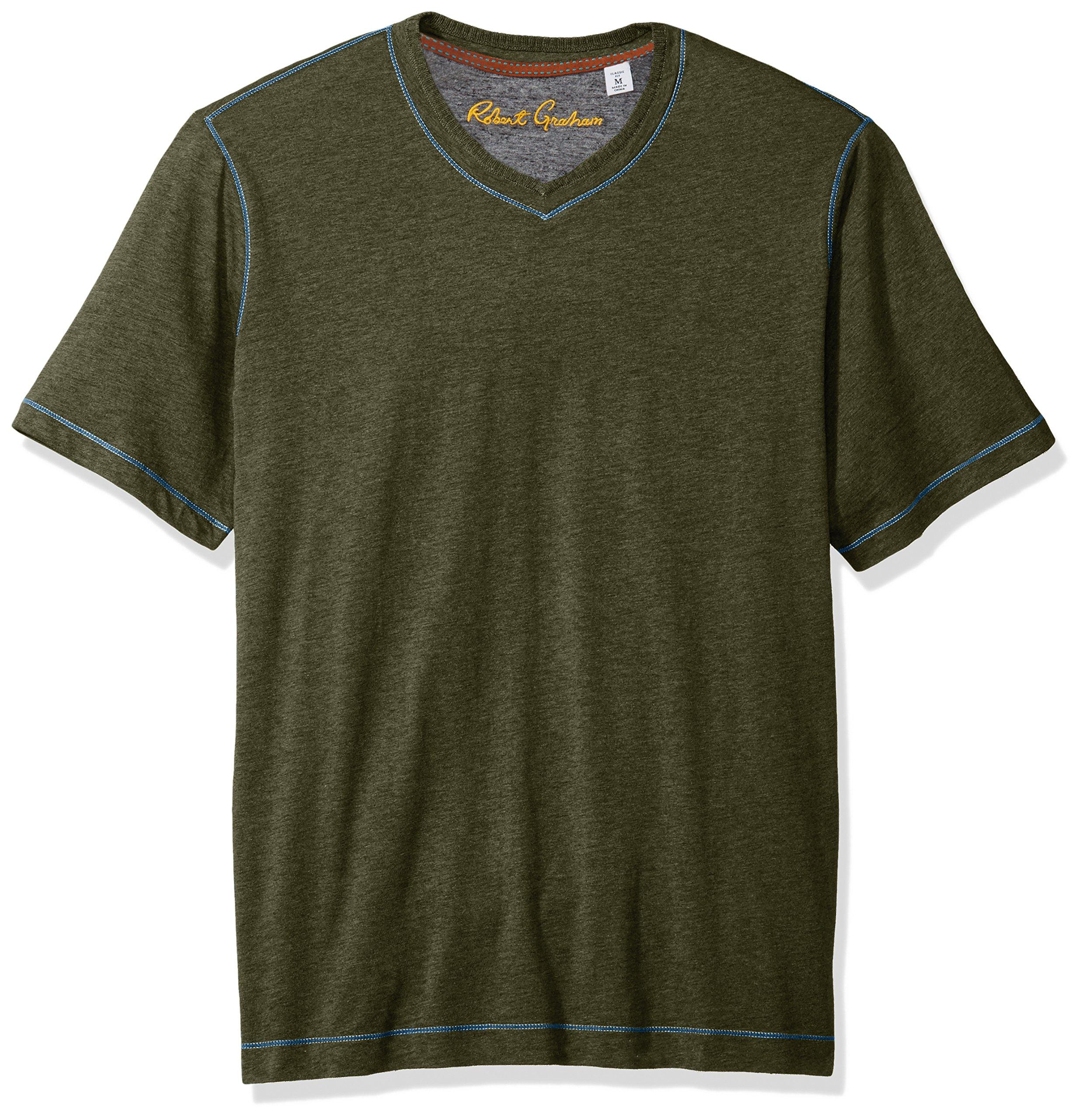Robert Graham Men's Short Sleeve Classic Fit Jersey Tee Shirt, Heather Olive, XLarge