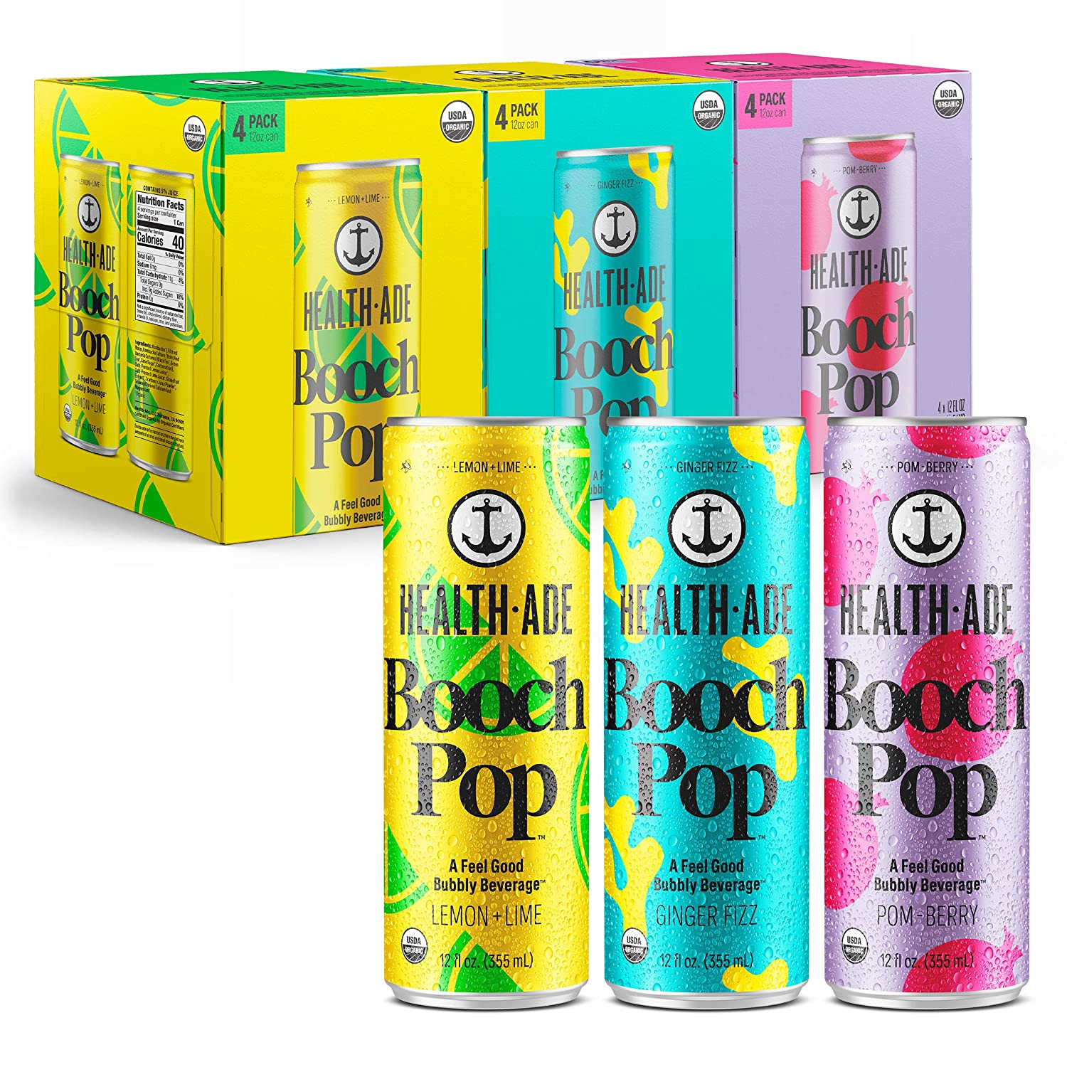 Health-Ade Booch Pop Healthy Soda for Gut Health, Made with Kombucha, Calcium, and Magnesium, 12 Pack Case (12 Fl Oz Cans), Variety Pack