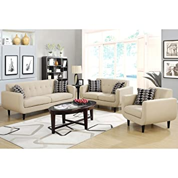 A Line Furniture Mid Century Modern Design Ivory Living Room Collection 1  Sofa, 1