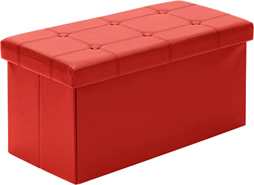 Best Choice Products Folding Storage Organizer Ottoman Bench w 200lbs Weight Capacity for Living Room, Bedroom – Red