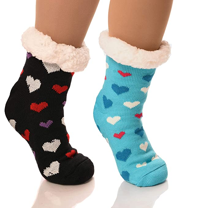 6a65840ba Image Unavailable. Image not available for. Color  DEBRA WEITZNER Slipper  Socks for Women Men Gripper Cozy Socks Winter ...