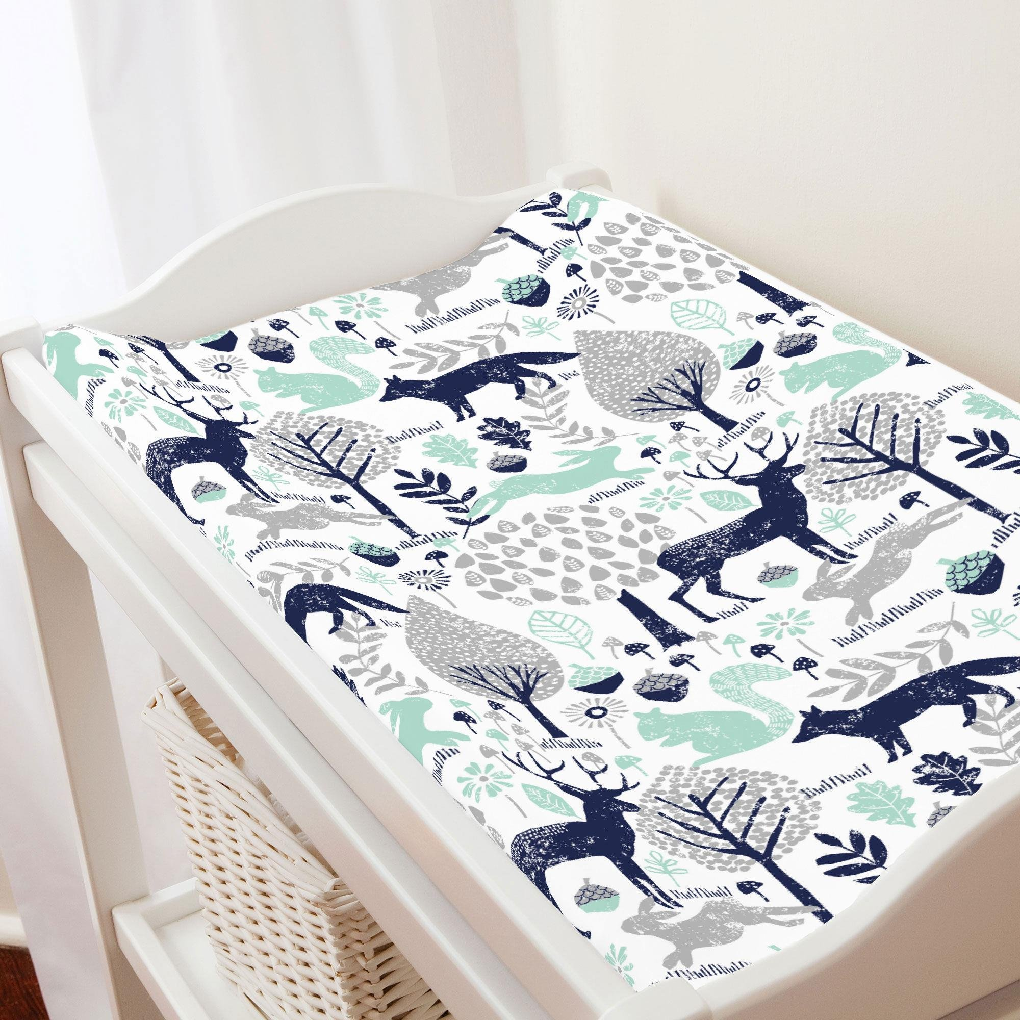 Carousel Designs Navy and Mint Woodland Animals Changing Pad Cover - Organic 100% Cotton Change Pad Cover - Made in The USA