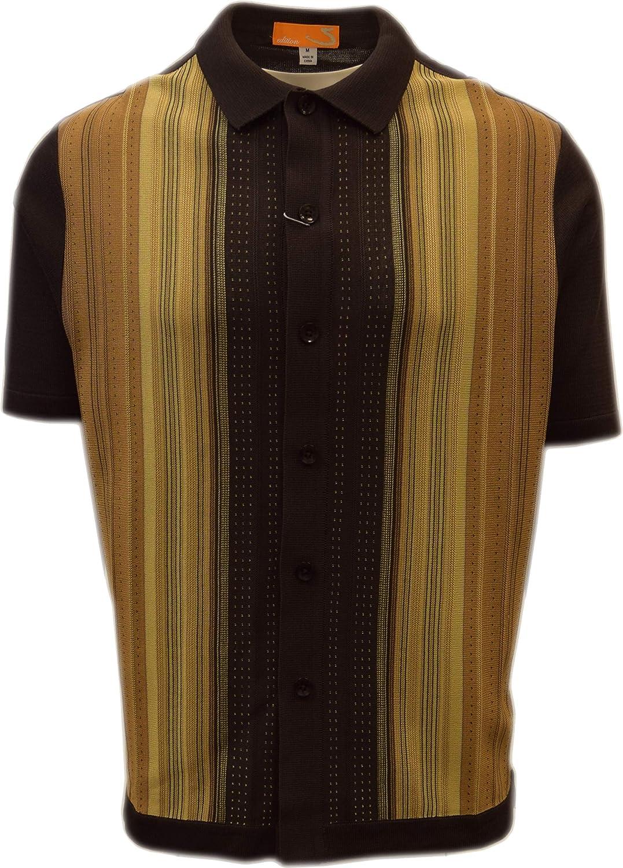 Multi Stripes SAFIRE SILK INC California Rockabilly Style Edition S Mens Short Sleeve Knit Shirt