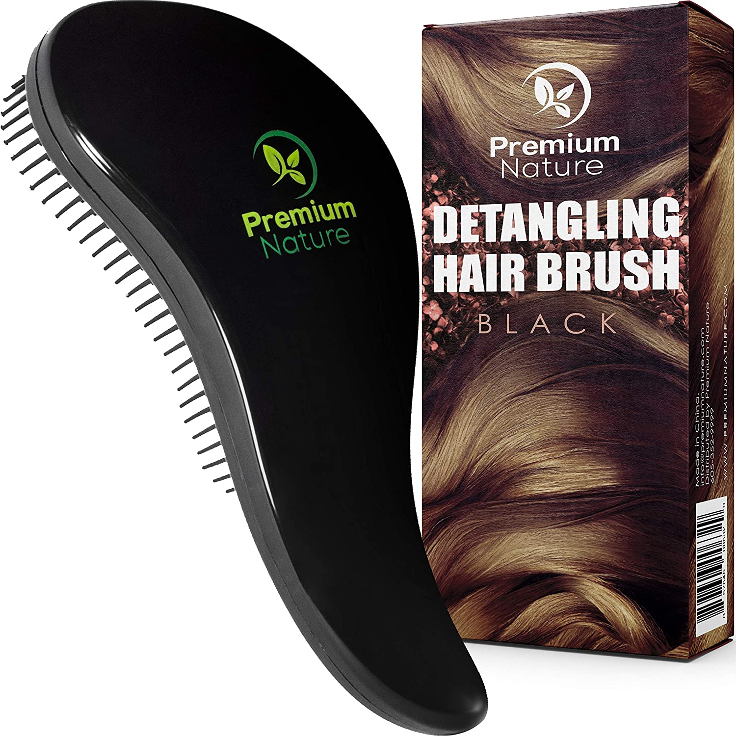 Detangling Hair Brush Best Detangler Comb - No Pain Detangler Brush For Curly Wavy Thick or Thin Hair - Premium Nature (Black)