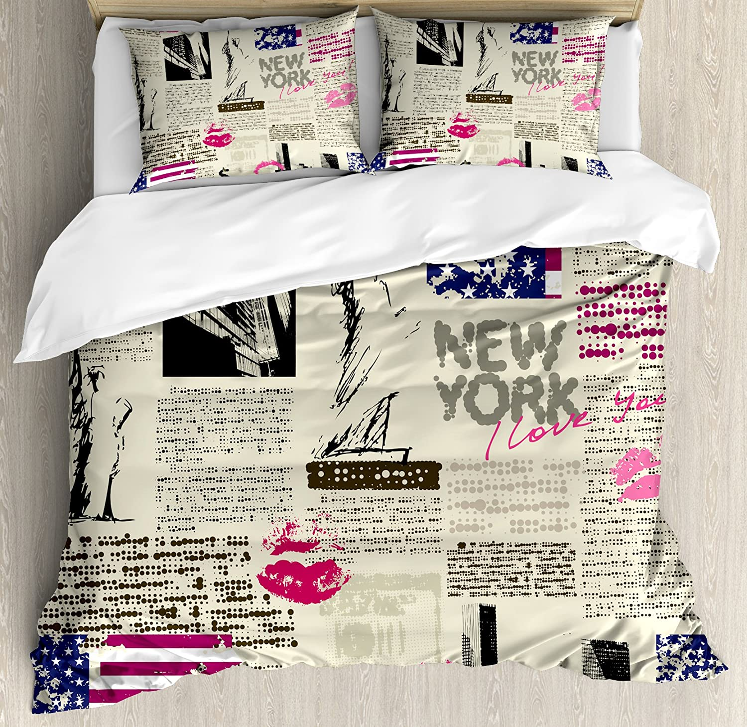 Ambesonne United States Duvet Cover Set Queen Size, Newspaper New York with Sketchy Statue of Liberty and Texts Lipstick Vintage, Decorative 3 Piece Bedding Set with 2 Pillow Shams, Multicolor