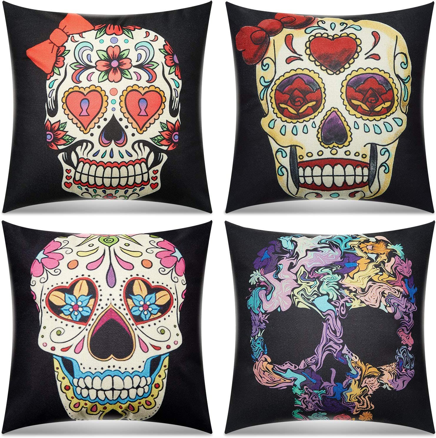 4 Pieces Mexican Day of The Dead Sugar Skull Pillow Covers Halloween Decorative Pillow Covers Square Linen Cushion Pillow Cover for Home Couch, Bed, Patio, Sofa and Balcony, 18 x 18 Inch