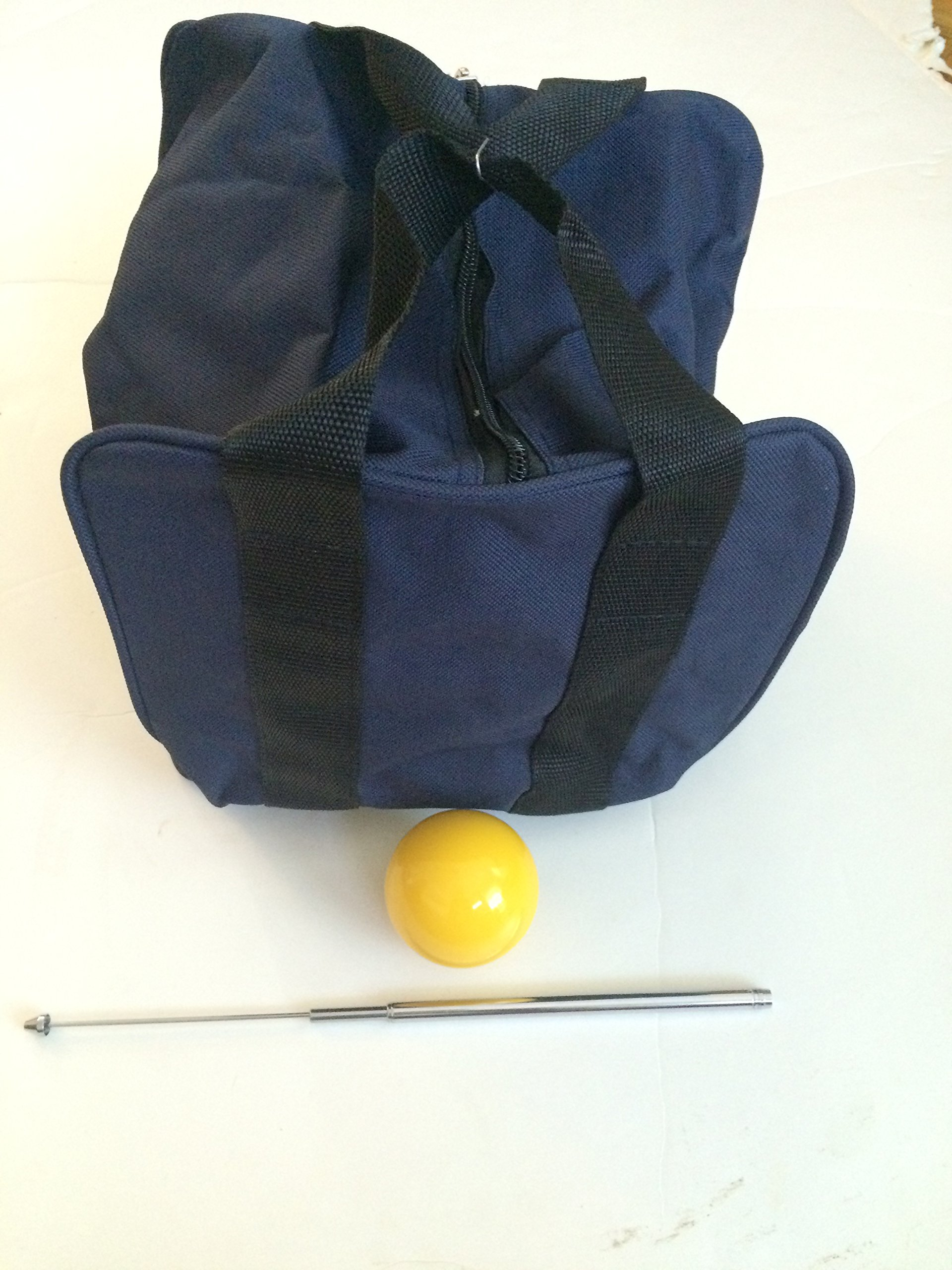 Unique Bocce Accessories Package - Extra Heavy Duty Nylon Bocce Bag (Blue with Black Handles), Yellow pallina, Extendable Measuring Device by BuyBocceBalls