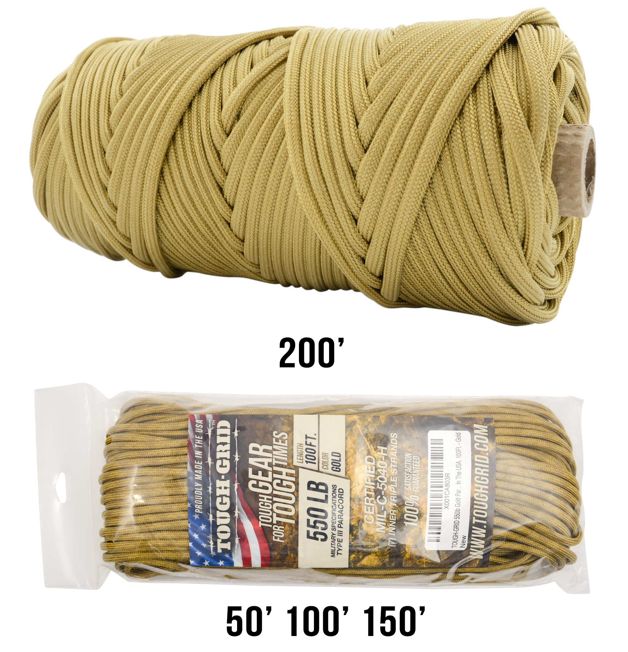 TOUGH-GRID 550lb Gold Paracord/Parachute Cord - 100% Nylon Genuine Mil-Spec Type III Paracord Used by The US Military - Great for Bracelets and Lanyards - Made in The USA. 50Ft. - Gold