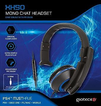 Gioteck Xh50 Micro Casque Mono Chat Pour Ps4 Bleu Amazonfr Jeux