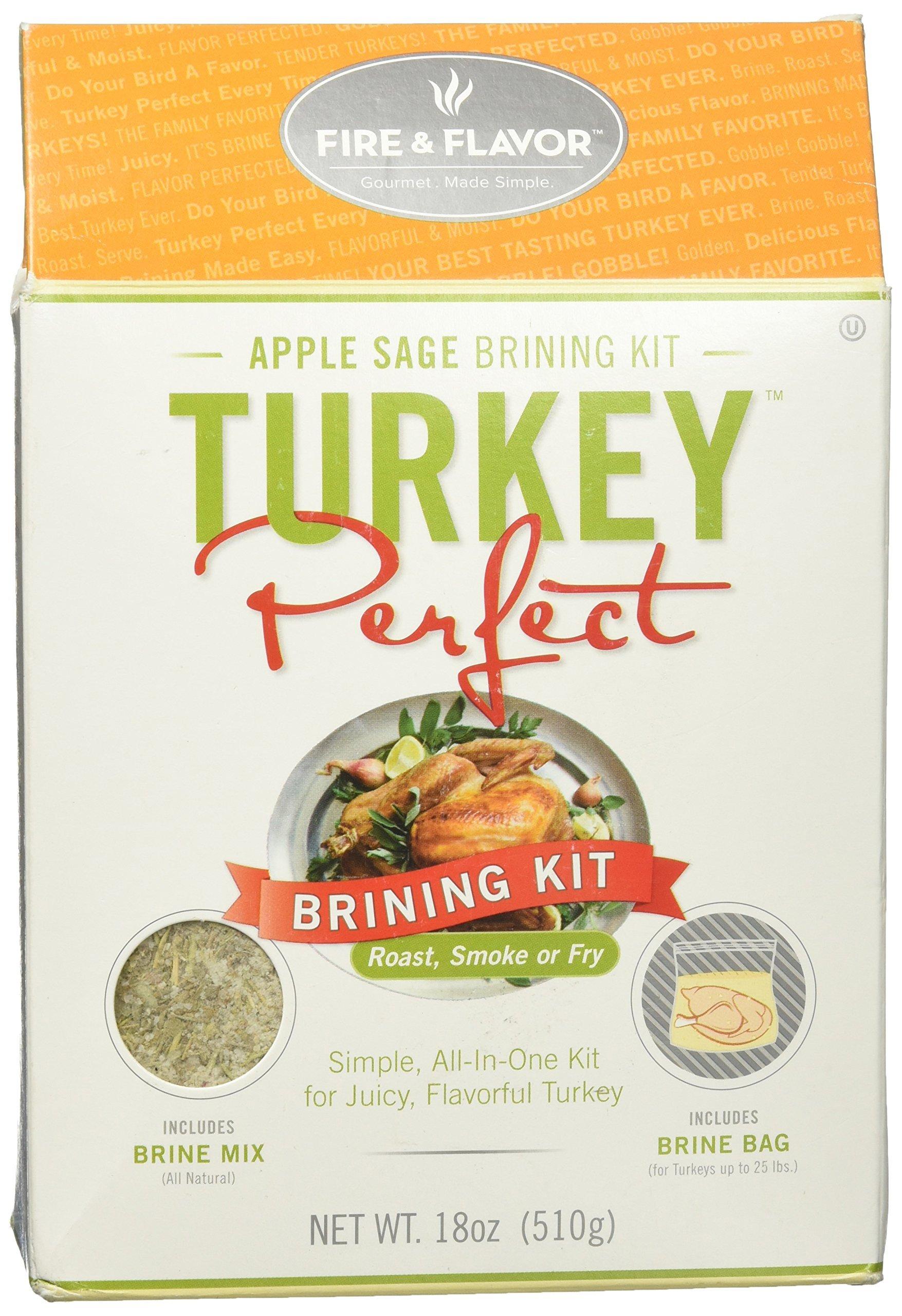 Fire & Flavor Turkey Perfect Brining Kit, Apple Sage,18 oz (510 g)
